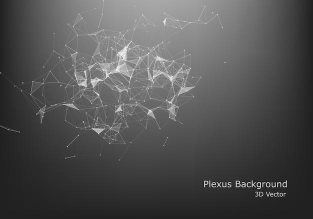 抽象的なインターネット接続と技術のグラフィックデザイン。コンピューターの幾何学的なデジタル接続構造。未来的な黒の抽象的なグリッド。粒子を持つ神経叢。
