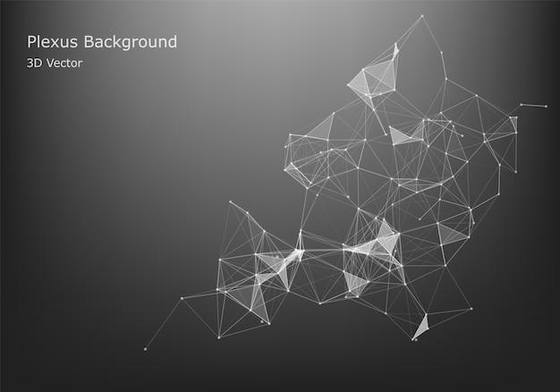 추상 인터넷 연결 및 기술 그래픽 디자인입니다. 미래 데이터. 어두운 배경에 점과 선을 연결하는 낮은 폴리 모양.