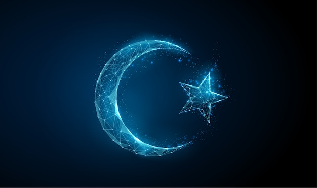 Abstract islamic ramadan symbol crescent and star.