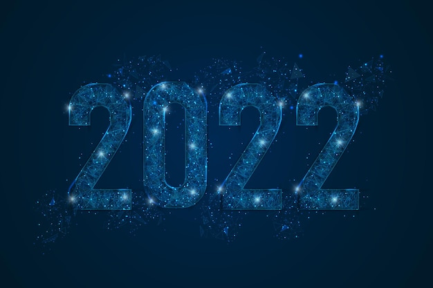 Abstract isolated blue image of new year number 2022. polygonal low poly wireframe illustration looks like stars in the blask night sky in spase or flying glass shards. digital web, internet design.