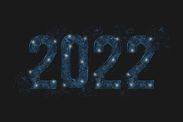 Abstract isolated blue image of new year number  polygonal low poly wireframe illustration looks lik...