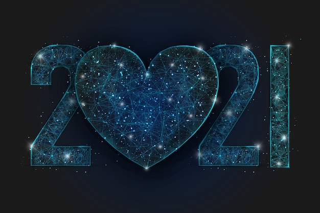 Abstract isolated blue image of  new year number. polygonal  low poly wireframe with heart