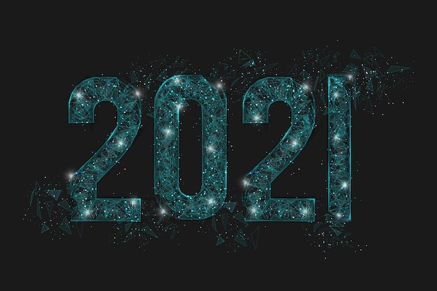 Abstract isolated blue image of  new year number. polygonal  low poly wireframe