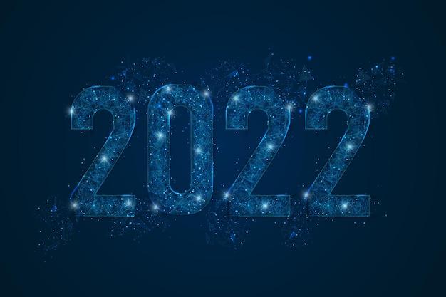 새해 번호 2022의 추상적으로 격리된 파란색 이미지입니다. 다각형의 낮은 폴리 와이어프레임 그림은 스페스 또는 날아다니는 유리 파편에 있는 블래스크 밤하늘의 별처럼 보입니다. 디지털 웹, 인터넷 디자인.