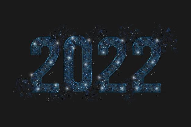 새해 번호 다각형 낮은 폴리 와이어프레임 그림의 추상 격리된 파란색 이미지는 다음과 같이 보입니다.