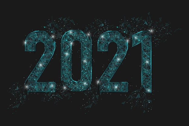 新年数の抽象的な分離された青いイメージ。多角形の低ポリワイヤフレーム