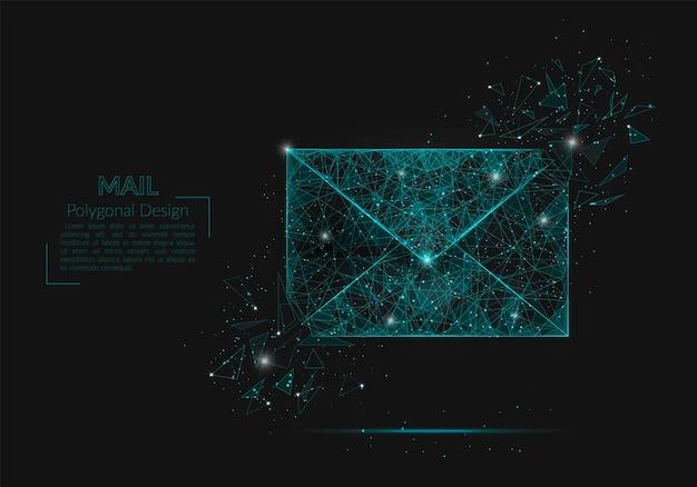 편지, 메일 또는 메시지의 추상 고립 된 이미지. 다각형 그림은 스파스 또는 날아가는 유리 파편의 블라스크 밤하늘에 있는 별처럼 보입니다. 웹사이트, 웹, 인터넷을 위한 디지털 디자인.
