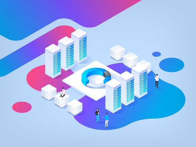 Abstract isometric illustration. high technology . data center.