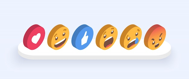 Abstract isometric set of emoticons