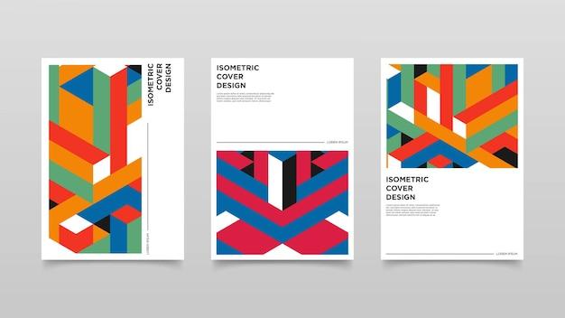 抽象的なアイソメトリック形状カバーデザイン。カラフルなデザインイラスト。