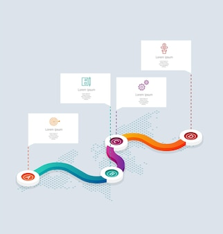 Abstract isometric  timeline infographics 4 steps