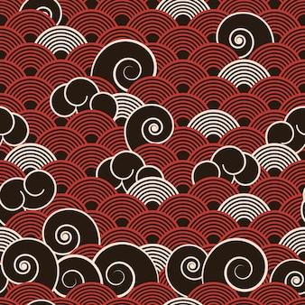 ヴィンテージスタイルのさまざまな波と抽象的な日本の海洋シームレスパターン