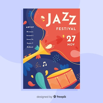 Abstract jazz music poster template