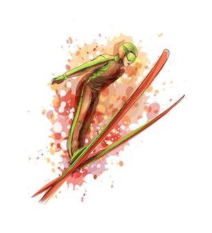 水彩のスプラッシュからジャンプスキーヤーを抽象化、手描きのスケッチ。塗料のイラスト
