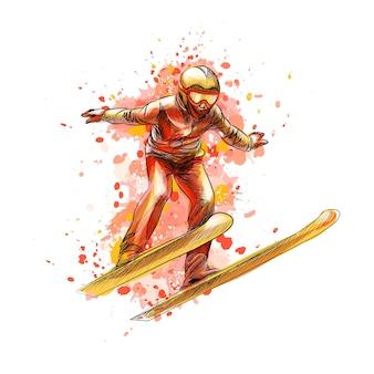 水彩のスプラッシュからジャンプスキーヤーを抽象化、手描きのスケッチ。冬のスポーツ。塗料のイラスト
