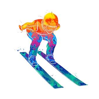 水彩画のスプラッシュから抽象的なジャンプスキーヤー。塗料のイラスト。