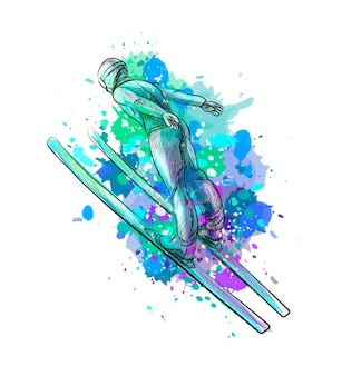 Abstract jumping skier from a splash of watercolor, hand drawn sketch. winter sport.  illustration of paints