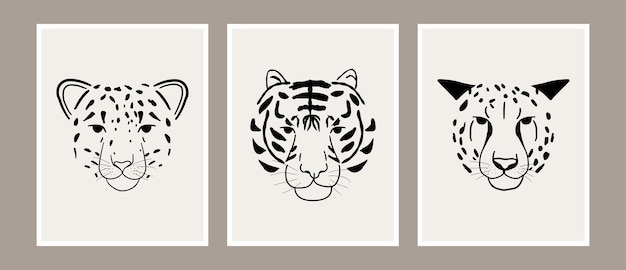 Abstract jungle animal leopard, tiger and cheetah head print art collection Premium Vector
