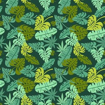 초록 정글 파라다이스 아일랜드 단풍의 실루엣으로 인쇄합니다. 평면 원활한 꽃 녹색 패턴 열 대 자연과 종 려 잎의 모양으로 식물에 의해 영감을 된. 여름 배경