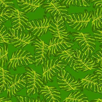 落書きモンステラの葉の要素と抽象的なジャングルのシームレスなパターン。緑色のランダムな緑のプリント。テキスタイル、ファブリック、ギフトラップ、壁紙のフラットベクタープリント。無限のイラスト。