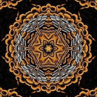抽象的な万華鏡の黄金の背景。明るい花。シームレスなイラスト