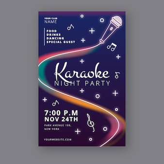 Abstract karaoke night party poster template