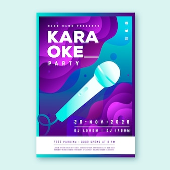 Abstract karaoke party poster template