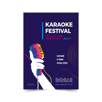 Abstract karaoke poster template