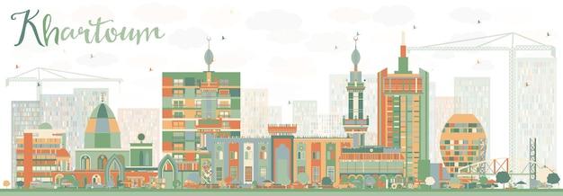 色の建物と抽象的なハルツームのスカイライン。ベクトルイラスト。歴史的な建築とビジネス旅行と観光の概念。プレゼンテーションバナープラカードとwebサイトの画像。