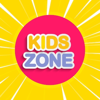 Abstract kids zone on yellow background.  illustration