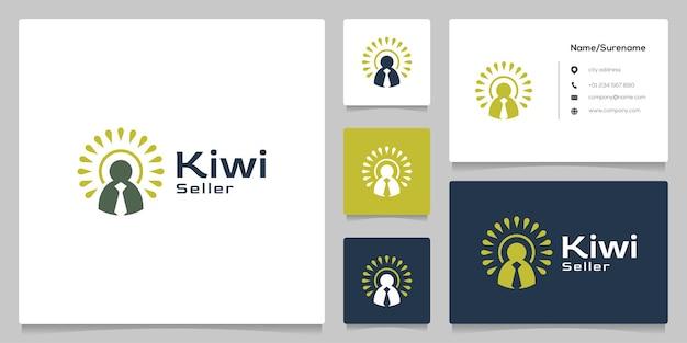 Абстрактный дизайн логотипа бизнесмен киви фрукты люди с визитной карточкой