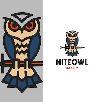 Шаблон логотипа абстрактный рыцарь сова