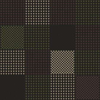 Abstract knitted pattern in camouflage style.