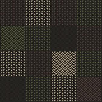 カモフラージュスタイルの抽象的なニットパターン。
