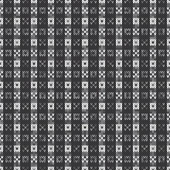 Абстрактный вязаный узор. вектор бесшовный фон с оттенками серого цвета. вязание шерстяного свитера.