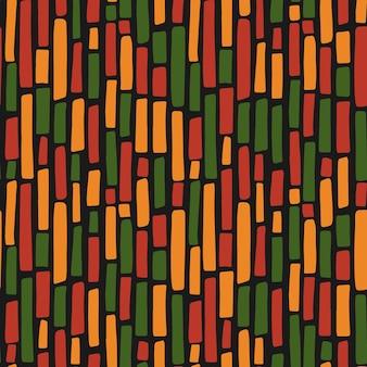 アブストラクトクワンザ、黒人歴史月間、6月16日のシームレスなパターンで、黒、赤、黄、緑の伝統的なアフリカ色の手描きの縦線があります。ベクトル部族民族背景デザイン。