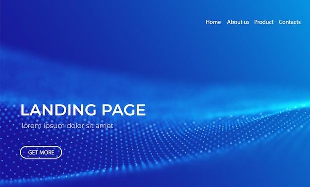 青い粒子技術ベクトル図と抽象的なランディングページの背景