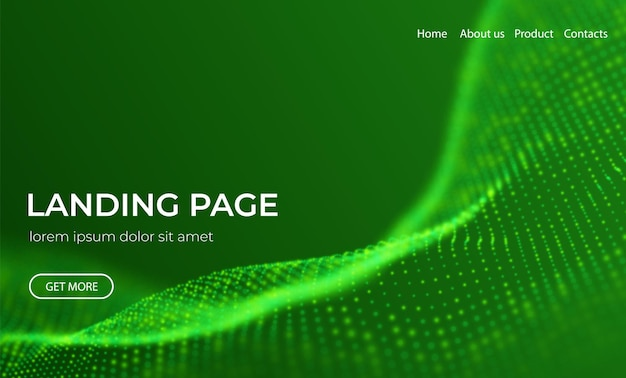 Abstract landing page background with green particles flow wave with dot landscape