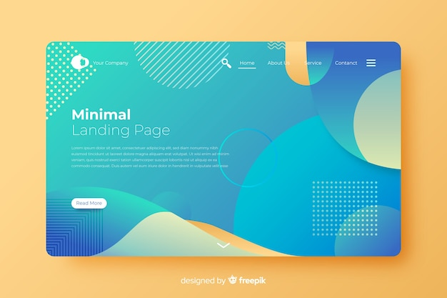 Abstract landing page in flat design