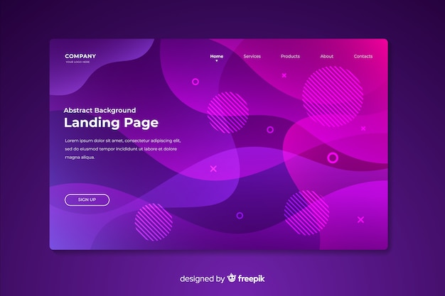 Abstract landing page in memphis style