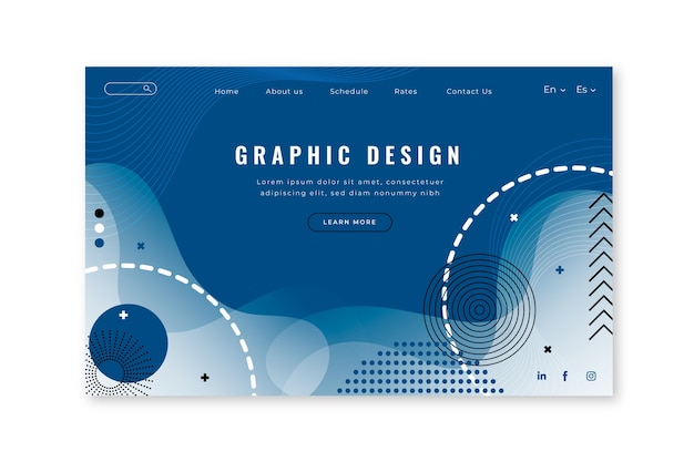 Abstract landing page template on classic blue color