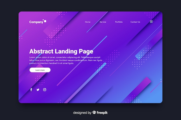 Abstract landing page with 3d diagonal lines
