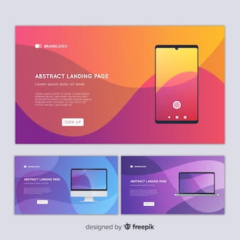 Abstract landing page with devices