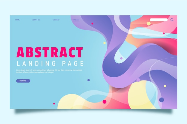 Abstract landing page with dynamic shapes