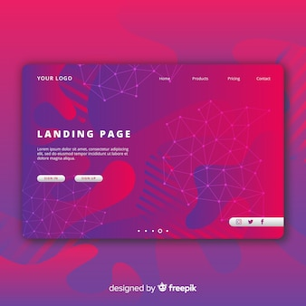 Abstract landing page with fluid shapes
