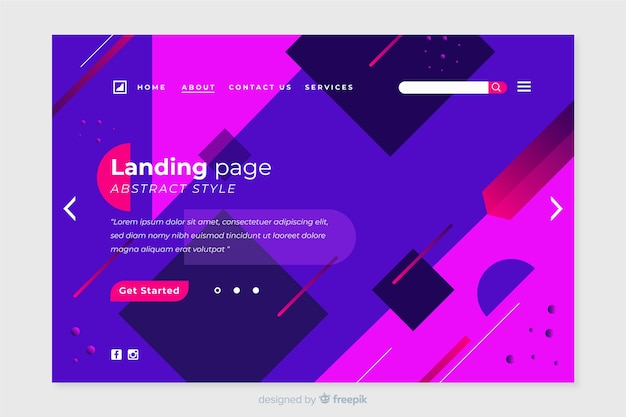 Abstract landing page with geometric shapes