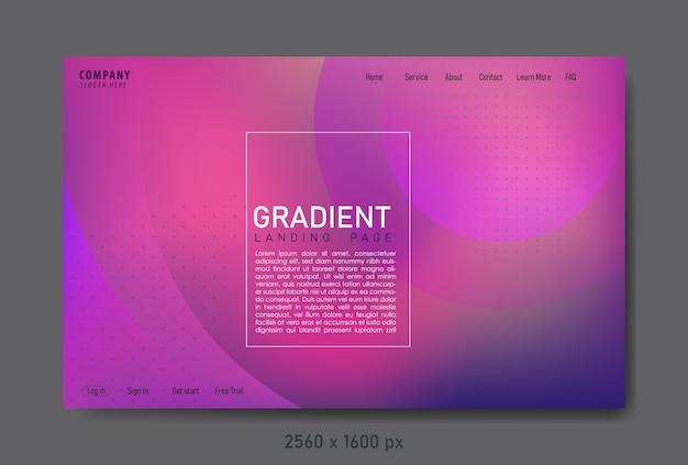그라데이션 색상과 기하학적 요소가있는 추상 방문 페이지.