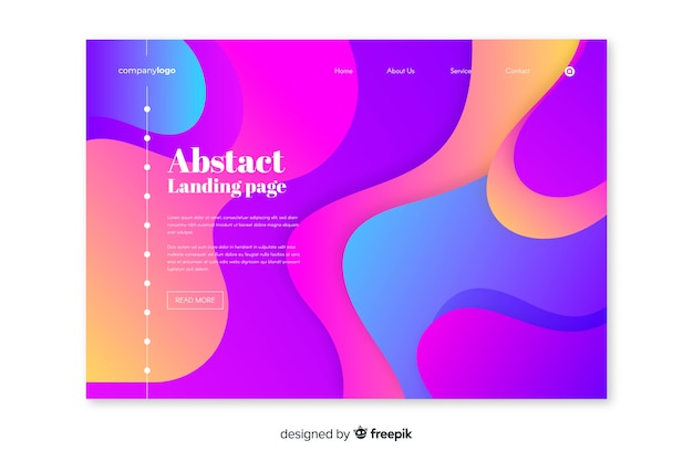 Abstract landing page with liquid effect