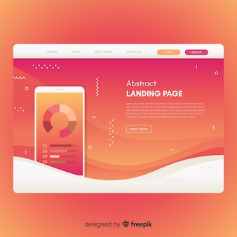 Abstract landing page with smartphone