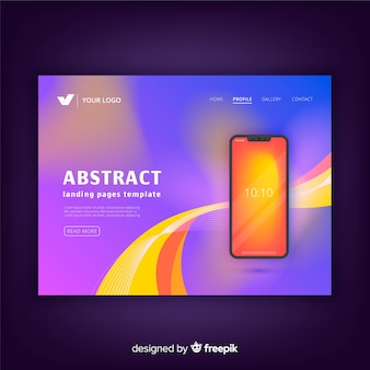 Abstract landing pages with technology devices